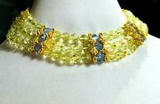 Vtg Delillo Choker Necklace W/yellow/blue Cut Crystal W/gold Plate Clasp Signed