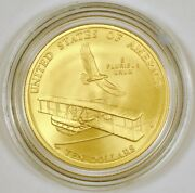 2003-w Wright Brothers Commemorative 10 Dollar Gold Coin From West Point Mint Bu