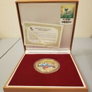 2010 Shanghai World Expo Gold Color Medallion In Case/original Box And Certificate