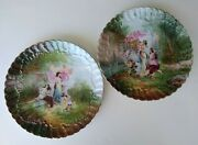 Pair Of Vintage Hand Painted Porcelain 11 Cabinet Plates - Classical Scenes