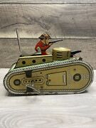 Vintage Early 1900s Marx Tank Gunner Sparks Works Key  Tin Toy Wind-up