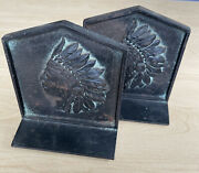Antique Solid Metal Iron Native American Indian Chief Bookends 70 Tote Book Ends