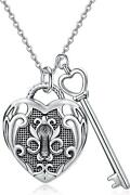 Sterling Silver Vintage Lock And Key Heart Photo Locket Necklace For Women 20