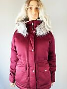 Hollister By Abercrombie And Fitch Size M Down Parka Jacket Coat Burgundy Red