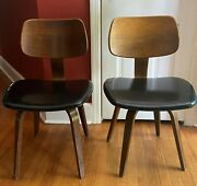 Original Vintage Thonet Mid Centry Bent Wood Two Chairs / One Chair Swivels