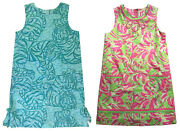 2 Lilly Pulitzer Girls Sz 12 Sleeveless Shift Dresses Blue Tiger And Shore Winds