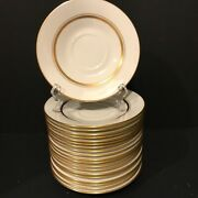 Lot Of 20 Lenox Oxford Bone China Saucers 1963-1987 Andover White W/gold Accents