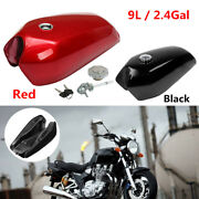 9l/2.4 Gallon Motorcycle Bikes Cafe Racer Vintage Fuel Gas Tank W/ Cap And Switch