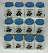 Tipp City Milk Glass Spice Jars Lot Of 12 Flowers With Rack 1950and039s 60and039s
