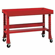 Shureshopand174 Mobile Bench W/acc Kit Painted Steel Top 72x 34 Carmine Red
