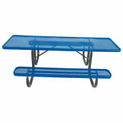 8and039 Ada Picnic Table Steel Double-sided Perforated Blue