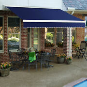 Awntech Retractable Awning Manual 20and039w X 10and039d X 10h Navy