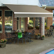 Awntech Retractable Awning Manual 16and039w X 10and039d X 10h Taupe