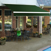 Awntech Retractable Awning Manual 16and039w X 10and039d X 10h Forest Green