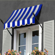 Awntech Spear Arm Awning 10-3/8and039w X 4-11/16and039h X 2-11/16and039d Bright Blue/white