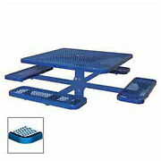 Single Pedestal 46 Square Table Inground Expanded Metal 78w X 78d Blue