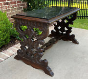 Antique French Renaissance Revival Coffee Table Bench Settee Marble Top Oak