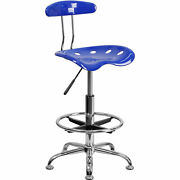 Drafting Stool W/tractor Seat, Vibrant Nautical Blue And Chrome