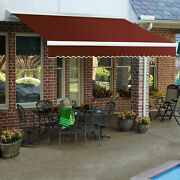 Awntech Retractable Awning Manual 10and039w X 10h X 8and039d Terra Cotta