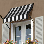 Awntech Spear Arm Awning 8-3/8and039w X 4-11/16and039h X 2-11/16and039d Black/white