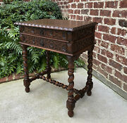 Antique French End Table Silver Chest Barley Twist Nightstand 2 Drawers Oak 19 C