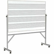 Ghentand174 Reversible Porcelain Magnetic Whiteboard W/2 Sides Music Staff 77w