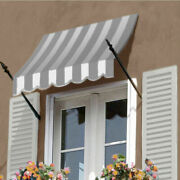Awntech Spear Arm Awning 8-3/8and039w X 4-11/16and039h X 2-11/16and039d Gray/white