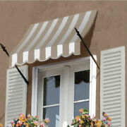 Awntech Spear Arm Awning 8-3/8and039w X 4-11/16and039h X 2-11/16and039d Tan/white