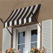 Awntech Spear Arm Awning 8-3/8and039w X 4-11/16and039h X 2-11/16and039d Black/tan