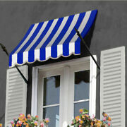 Awntech Spear Arm Awning 8-3/8and039w X 4-11/16and039h X 2-11/16and039d Bright Blue/white