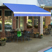 Awntech Retractable Awning Manual 8and039w X 7and039d X 10h Bright Blue/white