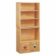 Wooden Shelving Unit With Combo Acid/flammables Cabinet