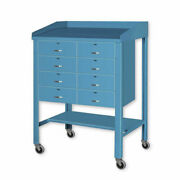 Open Steel Shop Desk With Eight Drawers 36w X 30d X 43h Tan