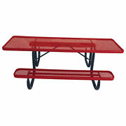 8and039 Ada Picnic Table Steel Double-sided Perforated Red