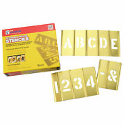 C. H. Hanson 10076 6 Brass Interlocking Stencil Letters And Numbers, 45 Piece