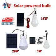 1-10x Solar Panel Powered Led Lights Bulb Light Tent Lamp Camping Outdoor Indoor