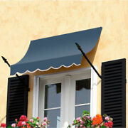 Awntech Spear Arm Awning 8-3/8and039w X 3-11/16and039h X 2and039d Dusty Blue