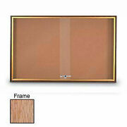 United Visual Products 96w X 36h Sliding Door Corkboard With Light Oak Frame