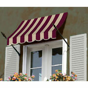 Awntech Spear Arm Awning 8-3/8and039w X 4-11/16and039h X 2-11/16and039d Burgundy/tan