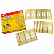 C. H. Hanson 10154 4 Brass Interlocking Stencil Letters And Numbers, 92 Piece
