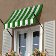 Awntech Spear Arm Awning 10-3/8and039w X 4-11/16and039h X 2-11/16and039d Forest Green/white