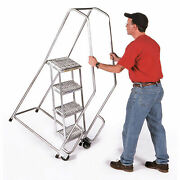 Ballymore A4sh-tr 4 Step 18w Aluminum Tilt And Roll Ladder, Ribbed Tread