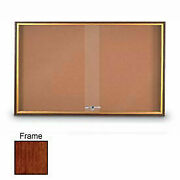 United Visual Products 96w X 36h Sliding Door Corkboard With Cherry Frame