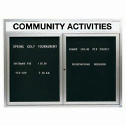 Aarco 2 Door Enclosed Letter Board Cabinet W/ Header Illuminated - 48w X 36h