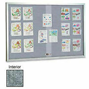United Visual Products 96w X 48h Sliding Glass Marble Easy Tack Board With