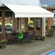 Awntech Retractable Awning Manual 10and039w X 10h X 8and039d Oatmeal Tweed