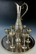 Antique Persian Style Middle Eastern Islamic Silver Drinks Set - Tray Jug 1085g