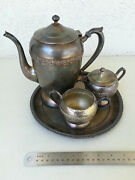 Vintage F.b.rogers Silver Co 1883 Silverplate 3 Piece Tea Or Coffee Set And Wilcox