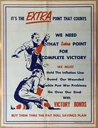 Original Wwii Home Front Poster Complete Victory Bonds Extra Point That Counts