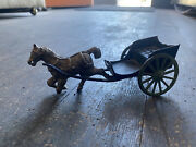 Lot Antique Cast Iron Dog Carriage Horse Toys Figures Buggy 19th Century Vtg